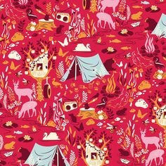"""Forest Frivolity"" in Strawberry -- premium woven quilting-weight cotton fabric from the Moon Shine collection by Tula Pink"
