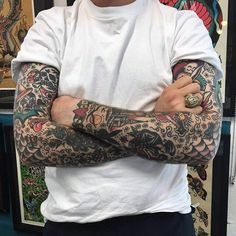 101 Old School Tattoo Designs For Men (updated for this season) - ,Mens Old School Sleeve Tattoo Old School Tattoo Sleeve, Vintage Tattoo Sleeve, Full Sleeve Tattoo Design, Old School Tattoos, Old School Ink, Best Sleeve Tattoos, Full Sleeve Tattoos, Sleeve Tattoos For Women, Traditional Tattoo Sleeve Filler