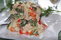 """Салат""""Шедевр""""с курицей и болгарским перцем  Автор: Ольга Романова  Для приготовления понадобится:  курица - 400 гр (у меня голень)  яйцо куриное - 4 шт  стручковая фасоль- 200 гр (у меня заморозка)  болгарский сладкий перец - 2 шт (красного цвета)  чеснок - 1 зубчик  майонез - для заправки  соль и перец - по вкусу  растительное масло - для жарки  Курицу отварить до готовности в подсоленной воде,остудить и нарезать на небольшие кусочки  Стручковую фасоль разморозить и отварить до готовности…"""