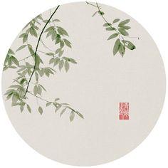 青简的相册-三枝两朵 Oriental Flowers, Text Frame, Circle Art, China Art, Chinese Painting, Ink Painting, Botanical Illustration, Mosaic Art, Japanese Art