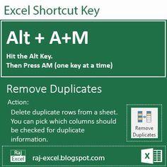 Raj Excel: Excel 2013/16 Short Cut Keys: Alt + AM (Remove dup...