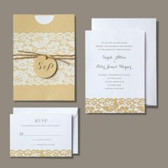 BRIDES Rustic Chic Invitation @Sarah Chintomby Solak-what if you did your yellow part like this? This isn't too much!