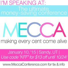 We're very excited to announce that we will be presenting at the MECCA (Making Every Cent Come Alive) conference this upcoming January Budgeting Finances, Financial Tips, Mecca, Very Excited, Money Saving Tips, Frugal, Conference, Coding, How To Get