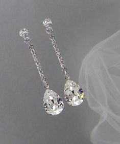Crystal Bridal earrings Wedding jewelry por CrystalAvenues en Etsy
