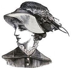 *The Graphics Fairy LLC*: Victorian Clip Art - 3 Hat Wearing Heads - Ladies