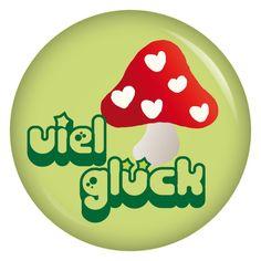 kiwikatze Button Viel Glück / Fliegenpilz