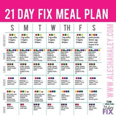21 day fix Meal Plan // alesha Haley #21dayfix #eatclean