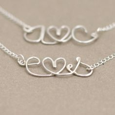 love letter. personalized initials. tiny heart. sterling silver wire NECKLACE.