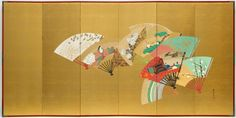 Birds, flowers and figures on scattered fans (1) Kamisaka SEKKA (1866–1942)