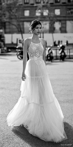 gali karten 2017 bridal sleeveless halter neck heavily embellished bodice romantic a  line wedding dress open strap back sweep train (2) mv  -- Gali Karten 2017 Wedding Dresses