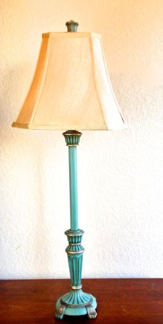 TABLE LAMP Vintage Distressed Turquoise Gold by AlainasAttic, $87.00
