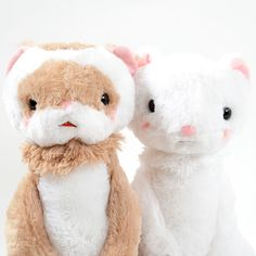 """These latest characters from plushie powerhouse Amuse are based on the adorably speedy little household pets - ferrets! *Gokigen* is a quite formal and slightly old fashioned way of saying """"Hi, How Are You?"""" that's more common in southern Japan, and these cute guys are just full of wholesome charm. There's Fel, the main ferret himself, and Flora, a white lady ferret. These are the big plushies too..."""