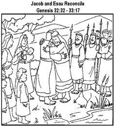 Jacob esau reunite coloring page bible class for Jacob and esau reunite coloring page