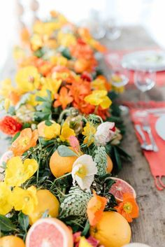 Wondering which wedding reception decoration supplies to buy? There are themed selections of reception decoration supplies in local stores and online retail Fruit Wedding, Wedding Table Flowers, Floral Wedding, Summer Wedding, Brunch Wedding, Orange Wedding, Wedding Tables, Wedding Colors, Wedding Bouquets