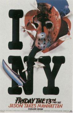 Kane Hodder Autographed Friday the Part VIII: Jason Takes Manhattan Poster - authentics game ticket Horror Icons, Horror Movie Posters, Horror Movies, Film Posters, Cinema Posters, Friday The 13th Poster, Kane Hodder, Movie Covers, I Love Ny