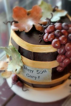Wine Barrel Cake! Red Velvet Cake with Mexican Chocolate Frosting- covered in modeling chocolate