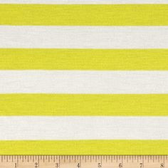 Stripe Jersey Knit Ivory/Yellow from @fabricdotcom  This jersey knit fabric has a soft hand, fluid drape and about 25% stretch across the grain. This versatile fabric is perfect for creating stylish tops, tanks, lounge wear, gathered skirts and fuller dresses. It features tonal horizontal  stripes.