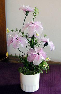 Handmade Nylon Flower Arrangement by LiYunFlora on Etsy, $25.00