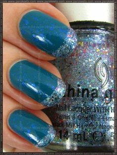 Blue #French #Manicure.Pretty. I can do this, love the colors.