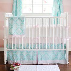 Blue girl crib set