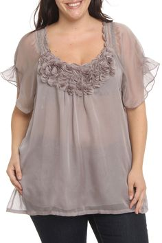 Blue Velvet Flower Neckline Top in Gray - Beyond the Rack