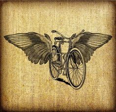 Flying Bicycle With Wings Large Vintage Digital by GadgetSponge, $2.75