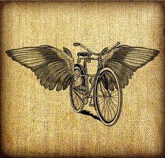 Flying Bicycle With Wings Large Vintage Digital by GadgetSponge, $2.75
