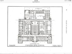 Creston High School, 1922 blue prints, 1st floor.