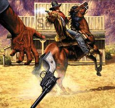 cover West Art, Book Illustration, Illustrations, Pulp Magazine, Weird Science, Pulp Art, Old West, Westerns, Horror