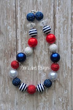 Red White and Blue Chunky Necklace by PinkLabelDesign on Etsy, $20.00