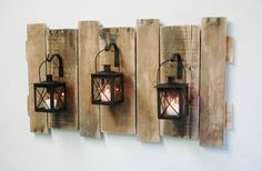 Farmhouse Style Pallet Wall Decor with Lanterns- French country,Rustic decor,shabby chic decor,home decor,fixer upper style,large wall decor