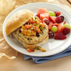 Turkey Burgers with Mango Salsa The secret is mixing a creamy, spreadable cheese into the turkey patties. It gives them a rich taste without overpowering the burger.