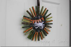 Clothes pin #Halloween #wreath by Keeping it simple