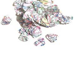 Biodegradable Wedding Confetti  Map Hearts  by HookUUpCustomCrafts, $4.00