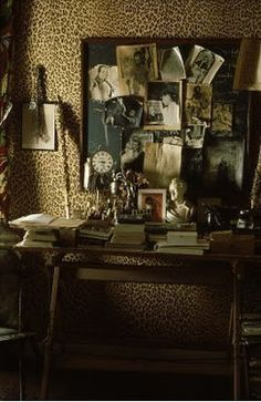 The Decorista-Domestic Bliss: office space of the day...LEOPARD WALLS