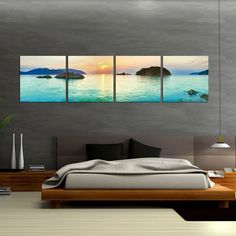 .Beautiful art work while combining it with an elegant bedroom collection.