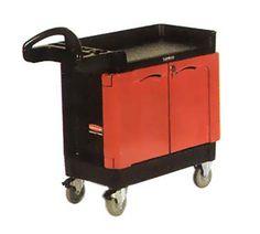 "TradeMaster Mobile Cabinet - 2-Door, 750-lb Capacity, 5"" Castors, Black"