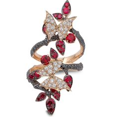 FOREST LONG FINGER RING Fly By Night 18k rose gold, rubies, black and white diamonds