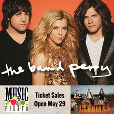 The 2015 Music Fiesta™ promises a superstar lineup with three separate artist performances.  Tickets go on sale at 10:00 a.m. on May 29, 2015. Music Fiesta will kick off at 1:15 p.m.on the last Saturday of Balloon Fiesta. The Band Perry won't be alone in their performance. Gloriana will be among the performers set to grace the stage this year. More information: http://www.balloonfiesta.com/event-info/music-fiesta