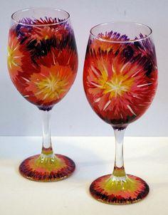 "Painted Wine Glasses tye dye | Large (20 oz) Handpainted Wine Glasses. Approximately 9"" tall. Food ..."