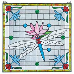 """Dragonfly Pond"""" Stained Glass Window. Over 275 individually hand-cut pieces of art glass and 14 cabochons encased in glazier's lead. #dragonfly #stainedglass #window"""