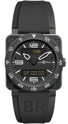 Bell & Ross Type Aviation Watch at Oster Jewelers. The Type Aviation is designed for the needs of fighter pilots. Featuring a unidirectional bezel and a quartz movement with analog and digital displays, stainless steel case with rubber strap. Luxury Watches, Rolex Watches, Watches For Men, Wrist Watches, Audemars Piguet Watches, Bell Ross, Black Rubber, Breitling, Aviation
