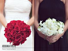 Bridal bouquets, red, black, and white wedding