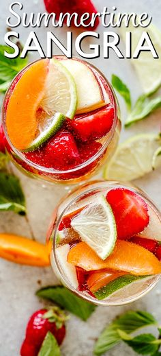 White Wine Sangria prepared with sparkling water, wine, brandy, and orange liqueur, then mixed with strawberries, apples, and peaches. Great make-ahead cocktail for summer dinners, parties, and get-togethers! #sangria #summer