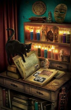 \black Cat and Book of Shadows Art by Blake MORROW (Artist, Canada) Halloween Witch Art, Book Of Shadows, Halloween Art, Halloween Pictures, Wiccan, Magick, I Love Cats, Cat Art, Fantasy Art
