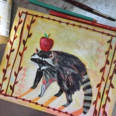 Raccoon! Day 5 of my #dailyanimalart and going strong. This one I painted with Coen strapped onto me facing forward so he could watch! So fun. (He fell asleep halfway through; guess he got bored, haha.) Raccoon asks you to look at the masks you might be wearing in your life. Where are you hiding? Raccoon is also a generous protector and provider - he can inspire you to give freely, generously, and without judgment. Of special personal note: when I was in labor with Coen, 3 raccoons came to…