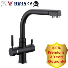 2016 Premium Osmosis Matte Black Drinking Water Filtered Kitchen Faucet Longreach Sink Mixer 3 Way Tri Flow Ro Water Filter Tap
