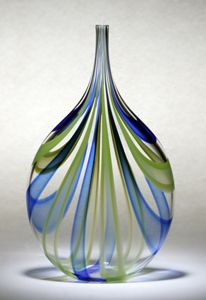 Cobalt and Green Cane Bottle by Chris McCarthy: Art Glass Vessel available at www.artfulhome.com