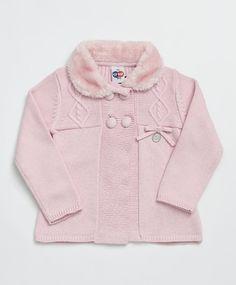 Casaco Baby em Tricô Rosa Claro