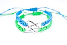 Blue and Green Infinity Couples Bracelets or by StarlitMoonDesigns